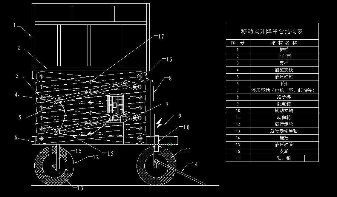 本升降台设计图纸为移动式液压升降平台结构示意图图片